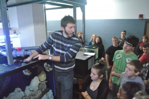 Greg back at Central Campus talking to students about nautiluses. (Photo by Grant Sodders)